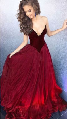 Prom Dresses – Elegant Organza Long Burgundy Prom Dresses – a unique product by dressy-grils on DaWanda