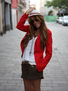 """""""Every girl should own a nice pair of jeans .. and a red blazer."""""""