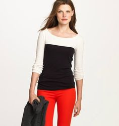 J. Crew color block tee. I love the simple elegance of this style!