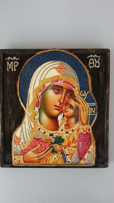Παναγία Βρεφοκρατούσα - : Mother of Jesus by Icondimiourgia on Etsy Virgin Mary, Mona Lisa, Trending Outfits, Unique Jewelry, Handmade Gifts, Artwork, Etsy, Vintage, Blessed Virgin Mary