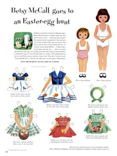 McCall Betsy. Vintage Paper doll, printable Easter egg hunt with little sister