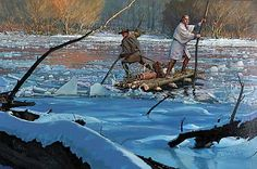 """benandbrew: """"This painting depicts a 21 year old Washington, and fellow surveyor, guide, and friend Christopher Gist, crossing the Allegheny River on December 29th, 1753. The raft was made using only..."""
