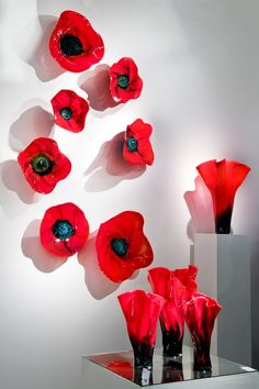 Cool glass poppy installation from London Glass Blowing