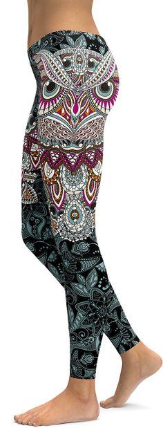 Ornamental Owl Leggings - GearBunch Leggings / Yoga Pants