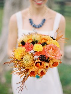 Autumn orange wedding bouquet.