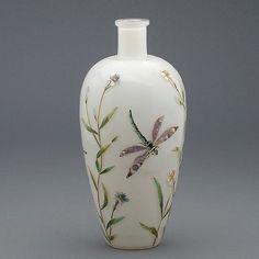 Art Nouveau Enameled Dragonfly Art Glass Vase.