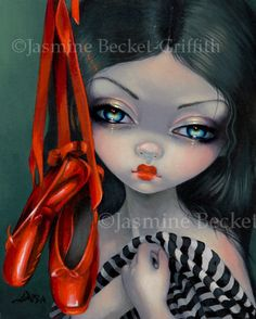 """""""The Red Shoes"""" Original Acrylic Painting HERE: http://www.ebay.com/itm/380874083630 Prints & Canvases are on my website HERE: http://www.strangeling.com/shop/fine-art-prints-fairytale-art-prints/red-shoes/ An illustration for my upcoming Fairy Tale Oracle #theredshoes #ballet #balletshoes #ballerina #redshoes #fairytale #bigeyeart #bigeyes #lowbrowart #gothicart #gothic #jasminebecketgriffith #strangeling"""