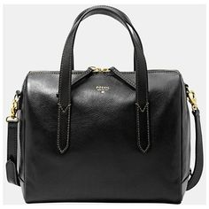 Fossil 'Sydney' Satchel (2 765 ZAR) ❤ liked on Polyvore featuring bags, handbags, black, leather satchel handbags, fossil purses, genuine leather handbags, fossil satchel and structured satchel handbag