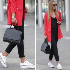 Platform crush 💕Platform or simple? Which one'd you prefer? details👇🏻 red coat and trousers lace blouse platform sneakers bag shades Red Blouse Outfit, Red Coat Outfit, Blazer Outfits, Casual Work Outfits, Classy Outfits, Fall Outfits, Outfit Work, Cute Fashion, Look Fashion