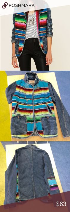 """Free People/Artisan De Lux Jean Jacket Distressed denim jacket with Mexican blanket detailing on the front. Button front closure. Two front denim pockets & two front slit pockets.  Sizing seems to run bigger than Small.  Chest is 19"""" flat, buttoned, Length is 27"""" and sleeve is 26.5"""" Made from actual Mexican blankets with variations and intentional distressing. Free People Jackets & Coats Jean Jackets"""