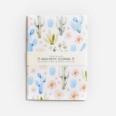 Notebook, journal, diary, cactus, flowers, spring, floral, A6, handmade, stationery, carnet, rose, fleurs, journal intime, papergoods