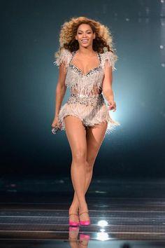 Beyonce in Swarovski embellished fringe stage costume