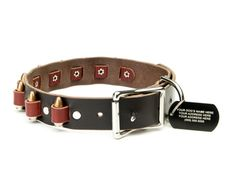 Bullet Leather Dog Collar