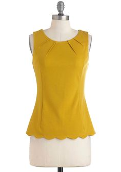Less is Demure Top - Yellow, Solid, Scallops, Work, Casual, Vintage Inspired, Sleeveless, Fall, Cotton, Mid-length