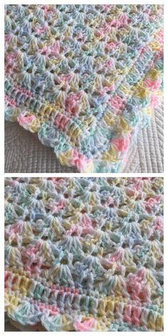 Crochet Gratis, Free Crochet, Crochet Baby Blanket Free Pattern, Crochet Shell Blanket, Easy Crochet Afghan Patterns, Bobble Stitch Crochet Blanket, Easy Baby Knitting Patterns, Free Baby Patterns, Knitting Tutorials