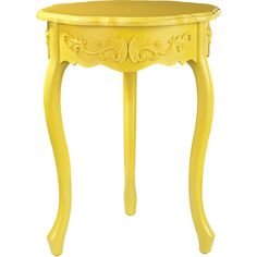 ELK LIGHTING Javit Sunshine Yellow Accent Table (Yellow) found on Polyvore featuring home, furniture, tables, accent tables, yellow, yellow table, colored furniture, yellow furniture, traditional furniture and scroll table
