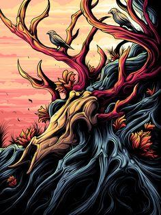 See how illustrator Dan Mumford creates a concert poster in Adobe Illustrator Draw. Dan Mumford, The Dark Knight Trilogy, Dark Ink, Concert Posters, Gig Poster, Art Club, Artist At Work, Pop Art, How To Draw Hands