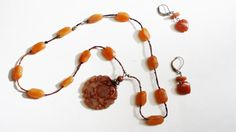 Antique Jade Red Carnelian Necklace Earrings by RomantiqueTouch