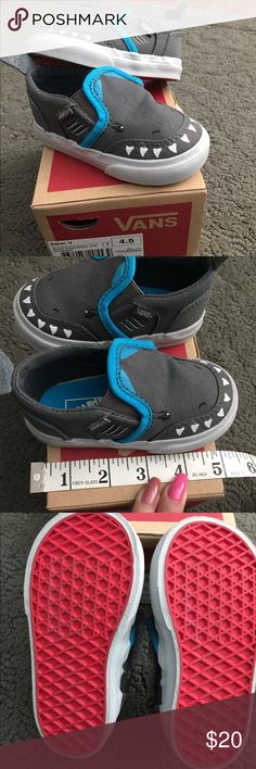 Toddler Shark Vans Simply adorable and detailed shark Vans with shark fins and Velcro opening. Only worn once. Vans Shoes Sneakers