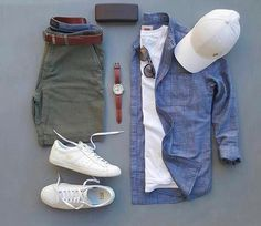 Mens fashion green pants blue shirt white shoes