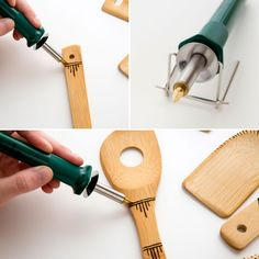 Use a wood burning tool to upgrade a basic kitchen spoon.
