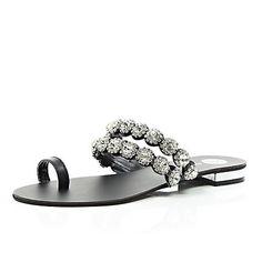 Black gemstone embellished toe loop sandals £35.00