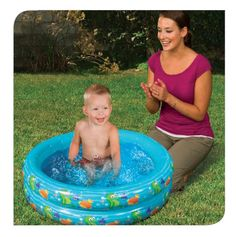 For ages 18m+. Baby's first splash pool. Dual-ring design. Fun ocean friends design. Banzai has the BEST SUMMER Backyard Toys for you to play and get SOAKED! #FunYourself!