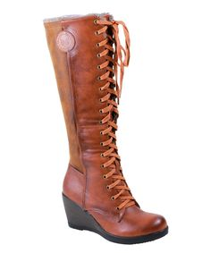Look at this Reneeze Camel Tall Joyce Wedge Boot on #zulily today!