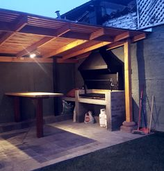 Quincho Outdoor Grill Area, Outdoor Barbeque, Modern Outdoor Kitchen, Diy Outdoor Bar, Built In Braai, Barbecue Design, Backyard Patio Designs, Cafe Design, New Homes