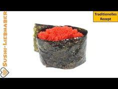 Gunkanmaki Sushi mit Tobiko: Eiweißbombe aus dem Rogen des Fliegenfisch.