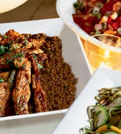 Moroccan Chicken and Lentils. I love this lentil dish, I make it sans chicken and use this recipe along with it. The hearty chickpean & acidity of the tomatoes give this dish balance. http://pinterest.com/pin/174936766746391674/