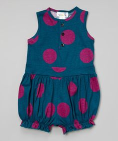 Teal & Fuchsia Dot Bubble Romper - Infant & Toddler #zulily #zulilyfinds