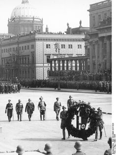 """""""Heroes' Remembrance Day"""" in Berlin (March 17, 1935)The photograph below was taken during a wreath-laying ceremony at the Heroes' Memorial """"Unter den Linden."""" It shows (from left to right) Admiral Erich Raeder (Commander-in-Chief of the War Navy), Senior General Werner von Fritsch (Commander-in-Chief of the Army), Reich Marshal Hermann Göring (Commander-in-Chief of the Air Force), General Field Marshal August von Mackensen (Royal Prussian Army), Hitler, and Reich Minister of War von Blomberg"""