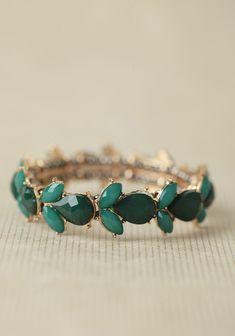 emerald green bracelet   ruche
