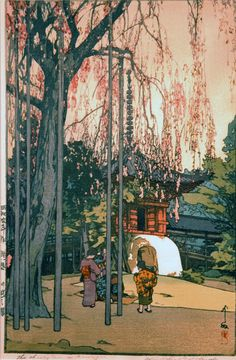Cherry Tree in Kawagoe, Hiroshi Yoshida (1876-1950), woodblock print, 1935