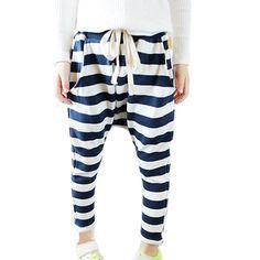 Urparcel Baby Girls Striped Casual Pants Harem Pants Low Crotch Sweatpants Baggy