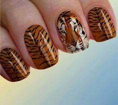 Tiger Stripe Nails, Tiger Nails, Striped Nails, Tiger Stripes, Nail Designs, Nail Art, Tattoos, Pretty, Fingers