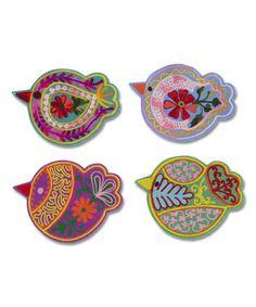 Colorful Bird Coaster Set #zulily #zulilyfinds