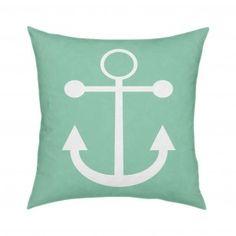 Mint Anchor Pillow 18x18