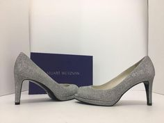 Stuart Weitzman Annamimic Women's Evening Peep Toe High Heels 8 W Silver Noir Pumps. Get the must-have pumps of this season! These Stuart Weitzman Annamimic Women's Evening Peep Toe High Heels 8 W Silver Noir Pumps are a top 10 member favorite on Tradesy. Save on yours before they're sold out!