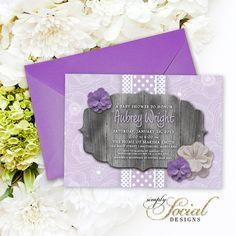 Purple Rustic Baby Shower Invitation - Bridal Shower Invitation Lilac Printable Barn Wood