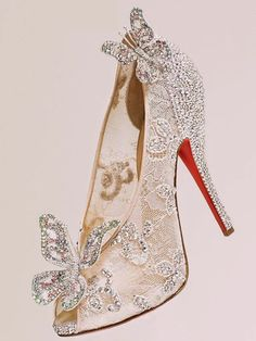 61 Trendy ideas for wedding shoes lace christian louboutin Cinderella Wedding Shoes, Wedding Shoes Bride, Bridal Shoes, Cinderella Slipper, Red High Heel Shoes, Cheap Christian Louboutin, Jeweled Shoes, Elie Saab Couture, Lily James
