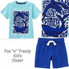NWT Gymboree MIX N MATCH Boys Size 3T 4T Jersey Shorts & Sharks Tee Shirt…