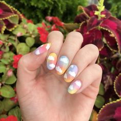 I was inspired by Taylor Swift's 'Lover' cover 🌈 Cute Acrylic Nail Designs, Cute Acrylic Nails, Gel Nails, Trendy Nail Art, Stylish Nails, Taylor Swift Nails, Kawaii Nails, Fire Nails, Pastel Nails