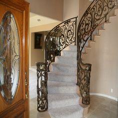 staircase railings | Wrought iron stair railing - steel doors