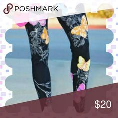 """Last Pair 5☆ Rated Super cute leggings with beautiful pastel colors and butterfly print.  Mid waist and Ankle length inseam 28"""".    Materials include polyester. Nip  Bundles welcome great discounts  No rude comments or you will be blocked Reasonable offers only Retail Chic Pants Leggings"""