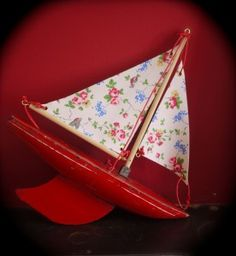 vintage child's boat with Cath Kidston sails