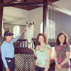 Winners of the Dover Saddlery and Horseware St. Patricks weekend VIP trip to WEF: Dawn and Janet meet Laura Kraut and her star horse Cedric in her stables in Florida.