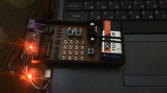 """Morse coder using Arduino Pro Mini ( The button on the right activates the Morse button on the left activates LED Matrix (Under test mode) and the on/off button under the Voltage Regulator. ) Sending """"mergim"""" with serial monitor. Three upper led's indicates the Dot Dash and Space (End of character). #Arduino #ArduinoProMini #lm7805 #Electronic #Microcontroller @electronics_vintage by mhelectronic"""