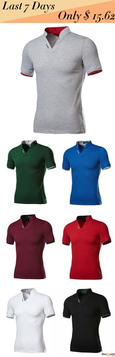 US$15.62 + Free Shipping. Fashion Leisure V-neck Solid Color T-shirts Men's Outdoor Casual Short Sleeve Tops Tees. US Size: S, M, L, XL, 2XL, 3XL. Multiple Colors For You.